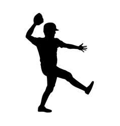 monochrome silhouette with baseball pitcher vector image