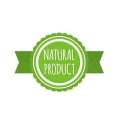 natural product badge round bio food logo vegan vector image