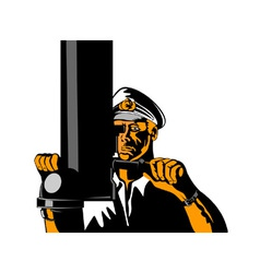 Navy Captain Sailor With Periscope vector