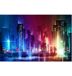 Night city background in vivid colors vector