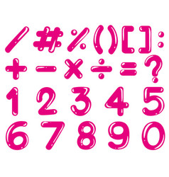numbers and math signs in pink color vector image