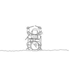 One continuous line drawing astronaut drummer vector