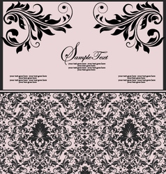 pink and black invitation floral card vector image