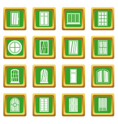 Plastic window forms icons set green vector