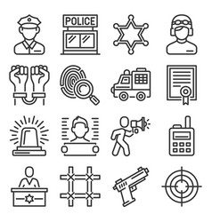 police an doliceman icons set on white background vector image