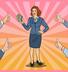 pop art business woman with stack of money vector image