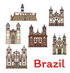 popular travel landmark of brazil thin line icon vector image