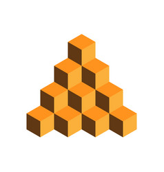 pyramid of gold cubes 3d vector image