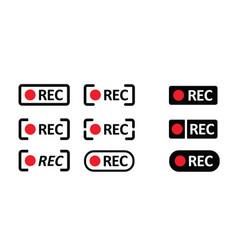 Rec framed recording sign vector