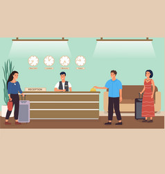 reception desk at a hotel with tourists vector image