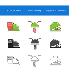restaurant food delivery service icons vector image