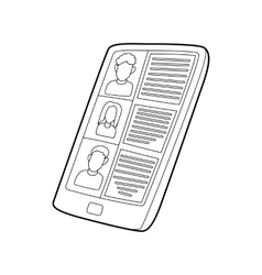 Resumes on the tablet screen icon outline style vector image