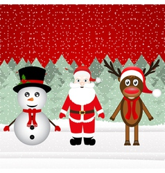Santa Claus a reindeer and a snowman vector image