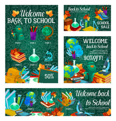School sale banner with special offer template vector
