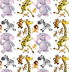 seamless background with many animals running vector image