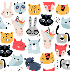 seamless childish pattern with funny animals vector image
