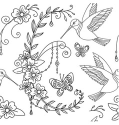 seamless pattern humming and flower vector image