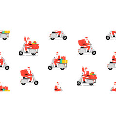 seamless pattern with santa claus driving scooter vector image