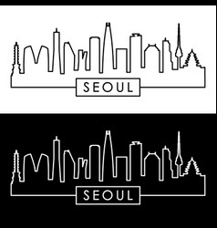 seoul skyline linear style editable file vector image