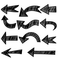 set hand drawn arrows doodle design elements vector image