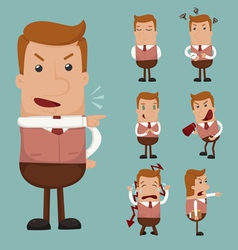 Set of businessman emotion vector image