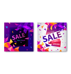 set of origami geometric sale banners vector image