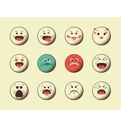 Set of retro emoji emoticons vector image