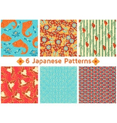 Set of six Japanese Patterns vector image