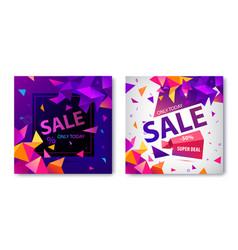 set origami geometric sale banners vector image