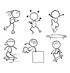 Silhouettes of the different activities vector image