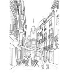 Sketch of the street of sitges vector