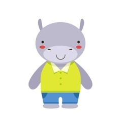 Smiling Hippo In Yellow Top And Blue Pants Cute vector