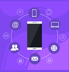 social media background icons phone vector image