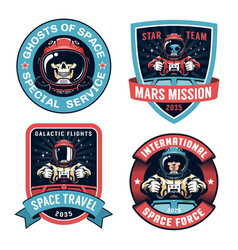 Space badge set with astronaut vector