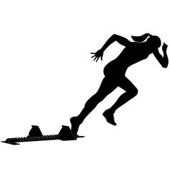 Start female runner from starting blocks vector