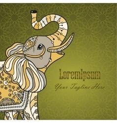 Stylized fantasy patterned elephant vector