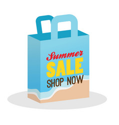 Summer sale shopping bag with beach background vector