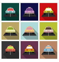 taxi car top view icon taxicab sedan with checker vector image