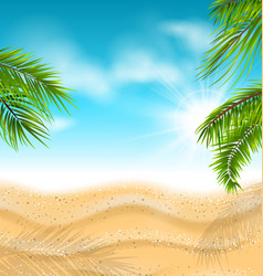 Tropical beach with sand sea palm leaves sun vector