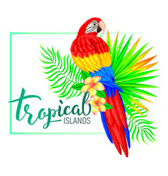 Tropical island composition with parrot leaves vector