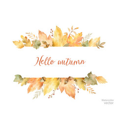 Watercolor autumn banner of leaves and vector