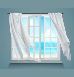 Window with billowing white curtains vector