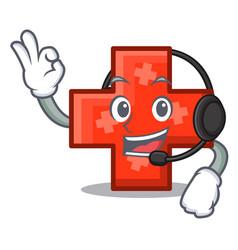 with headphone cross mascot cartoon style vector image