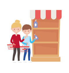 Woman and man shopping with baskets and shelf vector