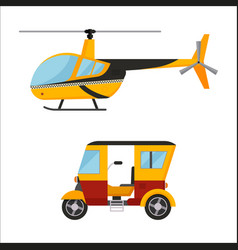 yellow taxi helicopter bus air vector image