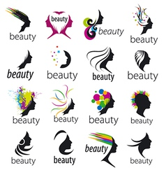 collection of logos beautiful female face vector image vector image
