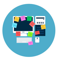 computer desktop with paper notes icon on blue vector image