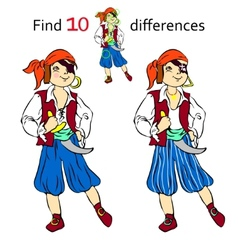 Find 10 differences pirate vector image vector image