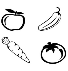fruits and vegetables icon vector image vector image