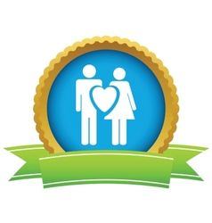 Gold love logo vector image vector image